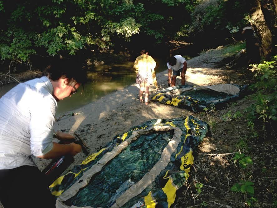 Liberland Settlement Association members inflating the boats ready for landing.