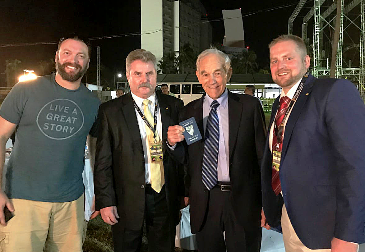 Dr. Ron Paul receives his passport from the Free Republic of Liberland